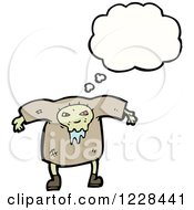 Clipart Of A Thinking Drooling Zombie Royalty Free Vector Illustration by lineartestpilot