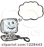 Clipart Of A Thinking Computer Royalty Free Vector Illustration by lineartestpilot
