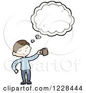Clipart Of A Thinking Man With A Coffee Mug Royalty Free Vector Illustration by lineartestpilot