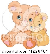 Clipart Of Cute Teddy Bears Cuddling And Hugging Royalty Free Vector Illustration