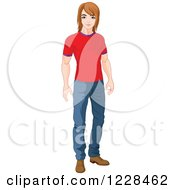 Clipart Of A Casual Young Man Standing In A T Shirt And Jeans Royalty Free Vector Illustration