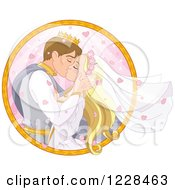 Clipart Of A Fairy Tale Wedding Prince And Princess Couple Kissing In A Circle Royalty Free Vector Illustration