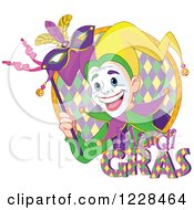 Clipart Of A Happy Mardi Gras Jester Holding A Mask In A Circle With Text Royalty Free Vector Illustration by Pushkin