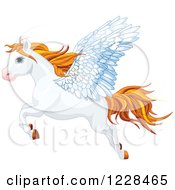 Clipart Of A Flying White Winged Pegasus Horse With Orange Hair Royalty Free Vector Illustration