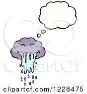Clipart Of A Thinking Drooling Cloud Royalty Free Vector Illustration by lineartestpilot