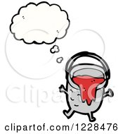 Clipart Of A Thinking Paint Bucket Royalty Free Vector Illustration by lineartestpilot