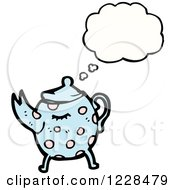 Clipart Of A Thinking Tea Pot Royalty Free Vector Illustration by lineartestpilot