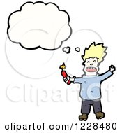 Clipart Of A Thinking Man With Dynamite Royalty Free Vector Illustration by lineartestpilot
