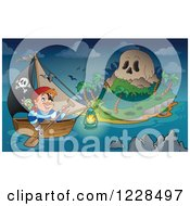 Clipart Of A Pirate Rowing A Boat To A Skull Island At Night Royalty Free Vector Illustration