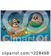 Clipart Of A Pirate Captain Rowing A Boat To A Skull Island At Night Royalty Free Vector Illustration
