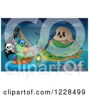 Clipart Of A Pirate Parrot Rowing A Boat To A Skull Island At Night Royalty Free Vector Illustration