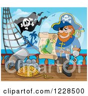 Clipart Of A Pirate Captain On Deck Holding A Treasure Map Royalty Free Vector Illustration