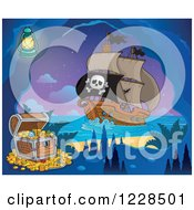 Clipart Of A Pirate Ship Near A Treasure In A Cave At Night Royalty Free Vector Illustration