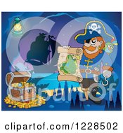 Clipart Of A Pirate Captain With Treasure And A Map In A Cave At Night Royalty Free Vector Illustration by visekart