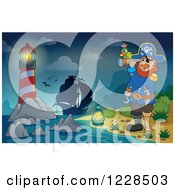Clipart Of A Lighthouse Ship And Pirate Captain With A Telescope At Night Royalty Free Vector Illustration
