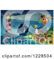 Clipart Of A Lighthouse Ship And Pirate Captain With A Treasure Chest At Night Royalty Free Vector Illustration