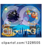 Clipart Of A Pirate Captain With Treasure And A Telescope In A Cave At Night Royalty Free Vector Illustration
