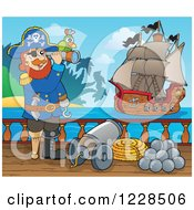 Clipart Of A Pirate Captain On Deck Viewing Another Ship Royalty Free Vector Illustration by visekart