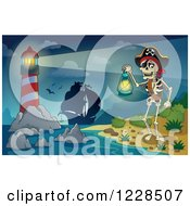 Clipart Of A Lighthouse Ship And Pirate Skeleton At Night Royalty Free Vector Illustration