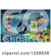 Clipart Of A Lighthouse Ship And Pirate Captain With A Map At Night Royalty Free Vector Illustration by visekart