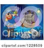 Clipart Of A Pirate Captain With Canon And A Telescope In A Cave At Night Royalty Free Vector Illustration