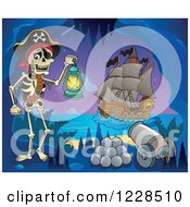 Clipart Of A Pirate Skeleton With A Canon In A Cave At Night Royalty Free Vector Illustration