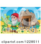 Clipart Of A Dwarf With A Shovel And Diamonds At A Mining Cave Royalty Free Vector Illustration by visekart