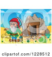Clipart Of A Dwarf With A Pickaxe At A Mining Cave Royalty Free Vector Illustration by visekart