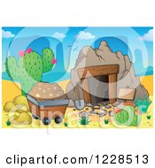 Clipart Of A Cart And Desert Mining Cave Royalty Free Vector Illustration by visekart