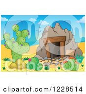 Clipart Of A Desert Mining Cave Royalty Free Vector Illustration by visekart