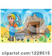 Clipart Of A Man With A Cart And Pickaxe At A Desert Mining Cave Royalty Free Vector Illustration by visekart
