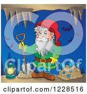 Clipart Of A Dwarf With A Shovel And Diamonds And Bats In A Mining Cave Royalty Free Vector Illustration by visekart