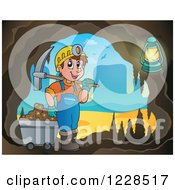 Clipart Of A Man With A Cart And Pickaxe In A Mining Cave Royalty Free Vector Illustration by visekart