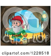 Clipart Of A Dwarf With A Pickaxe In A Mining Cave Royalty Free Vector Illustration by visekart