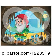 Clipart Of A Dwarf With A Shovel And Diamonds In A Mining Cave Royalty Free Vector Illustration by visekart