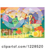 Clipart Of Happy Kites Floating Over An Autumn Farm Royalty Free Vector Illustration by visekart