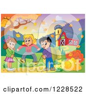 Clipart Of Children Playing Jump Rope By A Barn In Autumn Royalty Free Vector Illustration