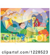 Clipart Of A Boy Playing With A Kite By A Barn In Autumn Royalty Free Vector Illustration by visekart