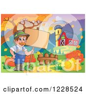 Clipart Of A Male Farmer Holding A Sign By A Barn In Autumn Royalty Free Vector Illustration