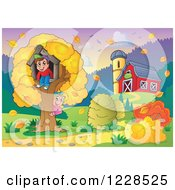 Clipart Of A Boy And Girl Playing At A Tree House By A Barn In Autumn Royalty Free Vector Illustration by visekart