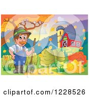 Clipart Of A Male Farmer With A Pitchfork And Hay By A Barn In Autumn Royalty Free Vector Illustration