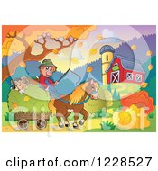 Clipart Of A Male Farmer With A Hay Cart By A Barn In Autumn Royalty Free Vector Illustration