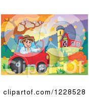 Clipart Of A Male Farmer In A Tractor By A Barn In Autumn Royalty Free Vector Illustration