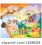 Clipart Of A Happy Sheep Near A Barn In Autumn Royalty Free Vector Illustration