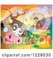 Clipart Of A Happy Cow Near A Barn In Autumn Royalty Free Vector Illustration by visekart