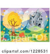 Clipart Of A Castle And Autumn Landscape Royalty Free Vector Illustration