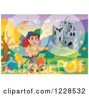 Clipart Of A Male Hiker By A Castle In Ruins And Autumn Landscape With A Sign Royalty Free Vector Illustration
