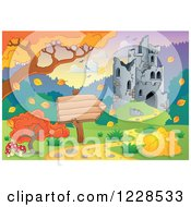 Clipart Of A Castle In Ruins And Autumn Landscape With A Sign Royalty Free Vector Illustration