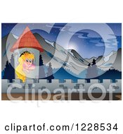 Clipart Of A Princess In A Castle Tower In The Mountains Royalty Free Vector Illustration by visekart