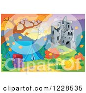 Clipart Of A Castle In Ruins And Autumn Landscape With A Tent Royalty Free Vector Illustration